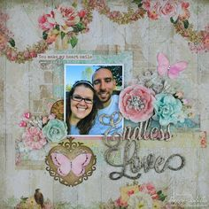 "Garden of Grace: ""Endless Love"" Mixed Media Layout with VIDEO TUTORIAL - Scraps of Elegance January Kit"