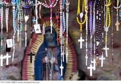 Close-up of rosary beads hanging in a church, Our Lady of Guadalupe, El Santuario de Chimayo, Chimayo, New Mexico, USA