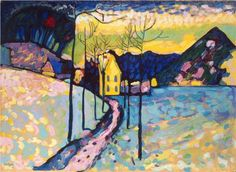 Winter Landscape. Artist: Wassily Kandinsky.  Completion Date: 1909.   Place of Creation: Munich / Monaco, Germany.  Style: Post-Impressionism.  Genre: landscape  Technique: oil  Material: cardboard.  Dimensions: 75.5 x 97.5 cm.  Gallery: The State Hermitage Museum, St.Petersburg, Russia.