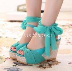 Cute Women's Girls Wedge Heel Lace Ankle Strap Platform Peep Toes ...