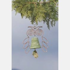Ancient Graffiti Whimsical Owl Hanging Bell Chime Green ANCIENTAG1500