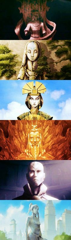 Statues of Avatars Wan, Yangchen, Kyoshi, Roku, Aang and Korra Avatar Aang, Avatar Airbender, Avatar Legend Of Aang, Team Avatar, Legend Of Korra, Animation, Superwholock, The Last Avatar, Inu Yasha