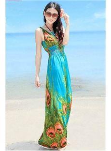 Peacock Feather Print V-Neck Slim Bohemian Maxi Dress