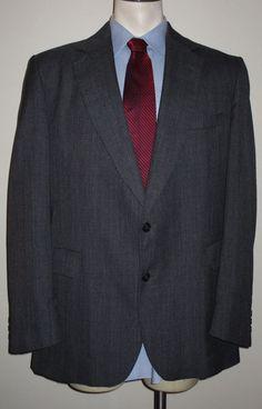 Men's Adams Row by Richman Gray Plaid Suit - 46L - Pants 40x33 - 100% Wool #Richman #TwoButton