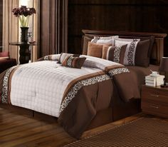 This lavish comforter set comes with everything you need to do a complete makeover for your master or guest suite.  Detail Embroidery highlight the true essence of look you are trying to achieve in elegant home decor.#ChicHome #LuxBed #Comforter  #Bedding #Home #Brown #Filigree