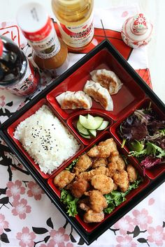 "Japanese Fried Chicken Bento - Pinner said, ""One of my favorite bento is chicken karaage, or Japanese fried chicken bento. In the United States, chicken kaarage is also referred to as sesame fried chicken in many Japanese restaurants. Click for recipe!"""