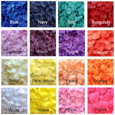 **New** 500 Count of Artificial Rose Petals in 17 popular colors. Our fake silk rose petals are made from a lighter fabric than our