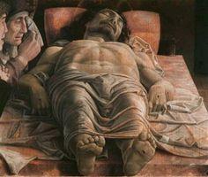 """""""A lamentação do Cristo morto""""- Andrea. A representação inovadora do corpo de Cristo no sepulcro é um caso único na pintura renascentista: os pés de Jesus em primeiro plano mostram, de maneira evidente, as chagas devido à crucificação. O corpo de Jesus, coberto de unguento, jaz sobre a Pedra da Unção, na qual foi deposto da cruz. À esquerda do corpo, foram representados Nossa Senhora, estranhamente muito mais velha, São João e uma terceira pessoa que poderia ser Maria Madalena."""
