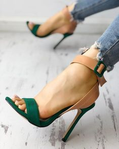 Colorblock Ankle Buckled Slingback Thin Heeled Sandals, Women Pointed Toe Cut Out Med Heel Patchwork Ladies Shoes Dream Shoes, Me Too Shoes, Shoe Boots, Shoes Heels, Heeled Sandals, Shoes Sneakers, Aldo Shoes, Ankle Shoes, Designer Shoes