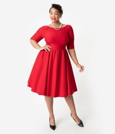 Stop Staring! Plus Size 1950s Style Red Stretch Sleeved October Swing Dress 7584742b8