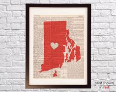 Rhode Island Dictionary Print  Providence Art  Print by DictionArt