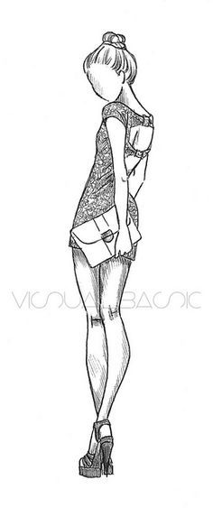Free Fashion Croquis Back by Aiciel on deviantART Drawing Sketches, Cool Drawings, Pencil Drawings, Sketches Of Love, Drawing Ideas, Sketching, Illustration Mode, Fashion Figures, Fashion Sketches