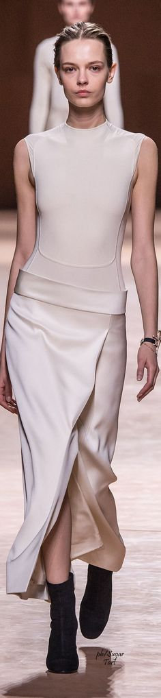 Hermes ~ Fall Silk Sleeveless Fitted Dress, White 2015-16