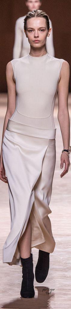 Hermes ~ Fall Silk Sleeveless Fitted Dress, White 2015-16