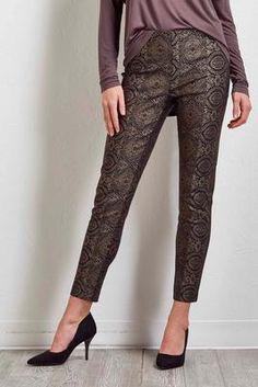 Versona metallic foiled ankle pants #Versona