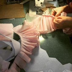 In the #zacposen #atelier #process #pink #ruffles #prefall15 #production.