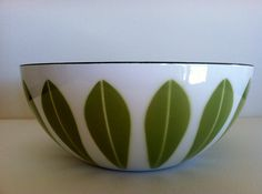 Awesome Vintage Mid Century Modern Cathrineholm 8 inch diameter White and Green Lotus Leaf Bowl.. $80.00, via Etsy.