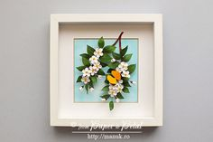 """Wall Art - Paper Quilling - Spring Flower - White Cherry Blossoms/ Sakura with a Yellow Butterfly - 25cm x 25cm (9 3/4"""" x 9 3/4"""")"""
