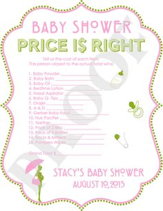 PERSONALIZED Price is Right Baby Shower Game Pink by PoshPapetiere, $10.00