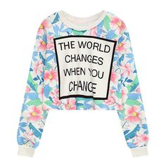 Floral Letter Crew Neck Cropped Sweatshirt ($99) ❤ liked on Polyvore featuring tops, hoodies, sweatshirts, crop top, crew-neck sweatshirts, white crewneck sweatshirt, floral tops and white sweatshirt