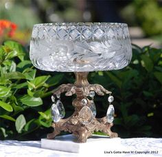 Heavy Ornate Brass Footed Etched Crystal Compote on Marble Base Hanging Prisms