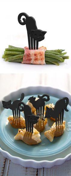 0 funny cooking ustensil  piques forme chat - ustensile de cuisine rigolo  -Black cat food picks