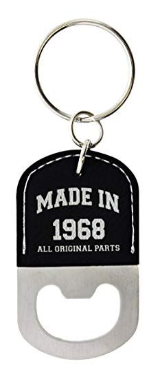 50th Birthday Gifts For Men Made 1968 Gift Ideas Leather Bottle Opener Keychain Key Tag Black