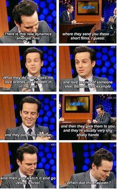 Andrew on The Late Late Show. Sherlock and Moriarity? Sherlock Cast, Sherlock Holmes Bbc, Sherlock Fandom, Watson Sherlock, Benedict Cumberbatch Sherlock, Sherlock Quotes, Sherlock John, Johnlock, Destiel