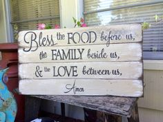 Bless This Food Before Us Pallet Wood Sign