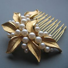 Pearl Cluster with Gold Leaves Hair Comb by LoveHonorUpcycle, $96.00