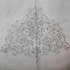#ShareIG #tezhip#islamsanatları#rumi#hatayi#tasarım# Islamic Art Pattern, Pattern Art, Border Embroidery Designs, Embroidery Patterns, Arabesque, Pencil Drawings, Art Drawings, Illumination Art, Persian Motifs