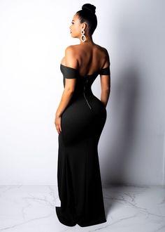 661dd95a89db Elegant Off Shoulder Thigh Split Maxi Dress. Trendy Dresses, Boutique  Clothing, Sleeve ...