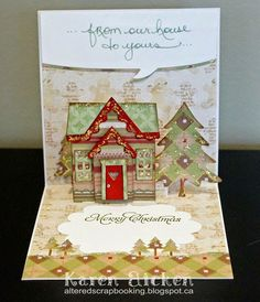 Karen Aicken using the Pop it Ups Lots of Pops, Holiday House, Outdoor Edges and Evergreen Pivot Card (trees) dies by Karen Burniston for Elizabeth Craft Designs. - Altered Scrapbooking: C4C263 World Hello Day