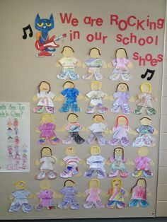 For the first week of school I read Pete Rocking in My School Shoes. The kids make a paper version of themselves and then add their own shoes. They turned out pretty cute :). We even went on a tour of our school just like Pete!