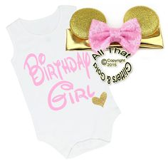 5e72ab37b116 2 Pc Pink and Gold Glitter Birthday Girl Minnie Baby Girl Outfit Cute Baby  Girl
