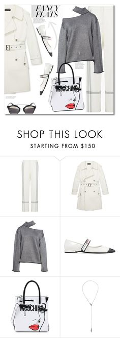 """""""Get the look Fancy flats"""" by vkmd ❤ liked on Polyvore featuring BCBGMAXAZRIA, Prada, Moschino, Alexis Bittar, Christian Dior and chicflats"""