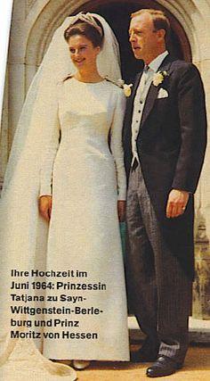 Princess Tatjana zu Sayn-Wittgenstein-Berleburg (*1940) married Erbprinz Moritz von Hessen (*1926) in Gießen. The wedding, which took place in June 1964