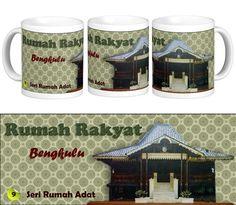 Mug Keramik tema seni budaya Indonesia, edisi khusus rumah adat Bengkulu.    Cocok buat hadiah / souvenir etnik nusantara.