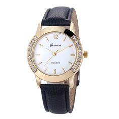 Hot Hothot Sales Vrouwen Diamond Analoge Lederen Quartz Polshorloge Horloges, business, Classic, eenvoudige, Meisje, ronde, luxe, jy28