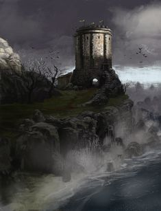 """The """"Drearfort"""" is a derogatory nickname suggested by Lord Petyr Baelish for the seat of House Baelish in the Vale of Arryn, possibly in reference to the Dreadfort of House Bolton. The Baelish tower does not have a formal Arte Game Of Thrones, Game Of Thrones Artwork, Fantasy Castle, Medieval Fantasy, Game Of Thrones Locations, Fire Art, Fantasy Places, Jaime Lannister, Fantasy Setting"""