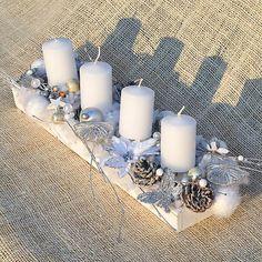 Hydrangea / Bielo-strieborný adventný svietnik Pillar Candles, Candles