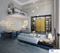 LINLEY Interior Design has produced design options for the interiors of a series of penthouses and apartments at Knightsbridge Private Park. #Interior #Design #Home #Decor #Sitting #Modern
