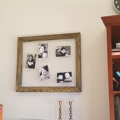 Recycle an old oak frame by painting it and adding chicken wire!