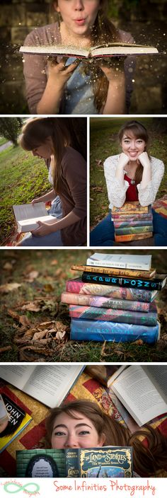 Senior photos with books! Would also be cute to so each year with my girls and their favorite books