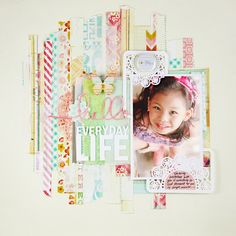 #papercraft #scrapbook #layout  LG's Scrapbook World: A Sketch Challenge at Scraptastic - i love the strips of paper!