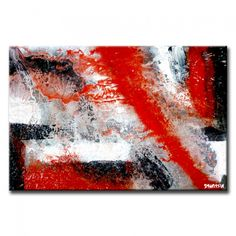 Zero gravity, silver black white red abstract painting, Peter Dranitsin