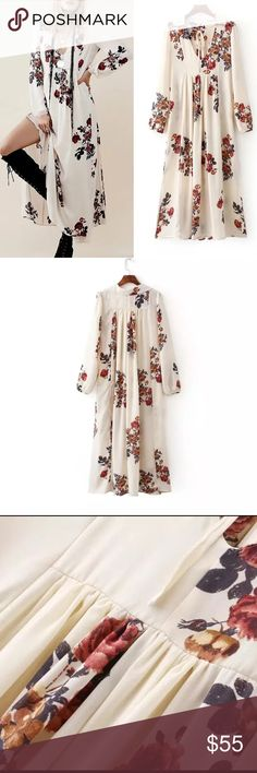 One hour flash sale Fall Pretty boho maxi dress It's so perfectly current for 2016-2017. Free People and Spell have both done takes on this kind of maxi dress, perfectly suited for any season. Super quality and chic. Lined upper part, two side pockets. Need a slip because bottom is not lined. Size s: bust/36, length: 50.4, Size m, bust/37, length: 50.7, Size L. bust/38 length: 51. Material: rayon and silk blended. The second and third pic is the real dress. Boutique  Dresses Maxi