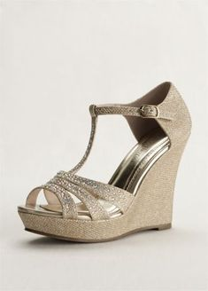 You will light up the night in these dazzling wedge sandals! Style AALLE2 at David's Bridal.