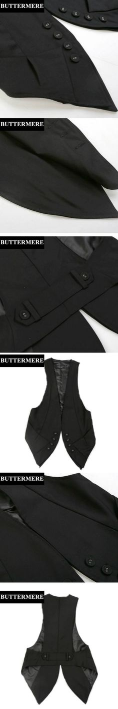 BUTTERMERE Brand Clothing Women Black Vest Fashion Ladies Sleeveless Jacket Irregular Design Suit Vest Double Breasted Waistcoat