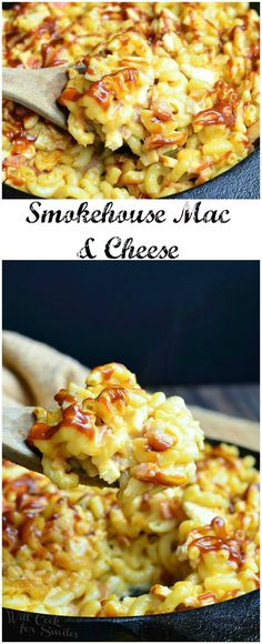 Smokehouse Mac and Cheese, chicken, bacon and lots of cheese! Macaroni loaded with chicken, smoked bacon and smoked cheese, baked and drizzled in bbq sauce. Cheese Dishes, Pasta Dishes, Food Dishes, Cheese Recipes, Side Dishes, 5 Star Mac And Cheese Recipe, Cheese Food, Main Dishes, I Love Food